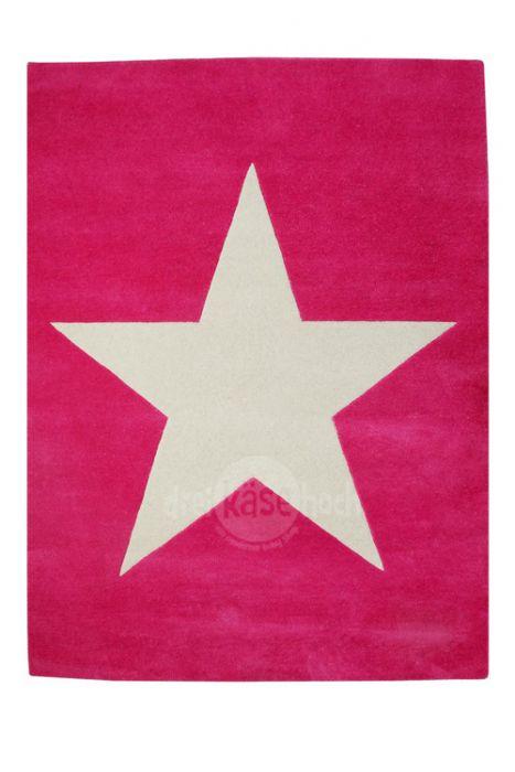 Lorena Canals Kinderteppich Wolle Star, fuchsia