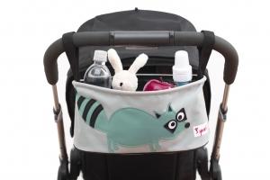 3 sprouts Kinderwagentasche, Waschbär