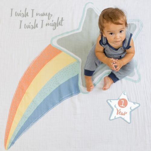 lulujo Babys First Year Swaddle-Blanket & Karten Set, I wish I may, I will