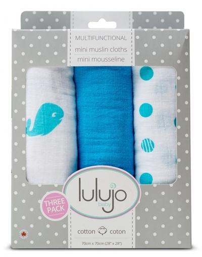 Lulujo Muslin Mulltuch 3er Pack - Brilliant Blue