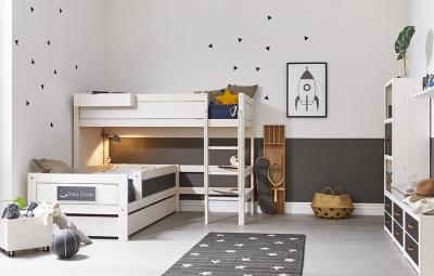 Lifetime Kidsrooms Mittel Hochbett mit schräger Leiter, Weiss