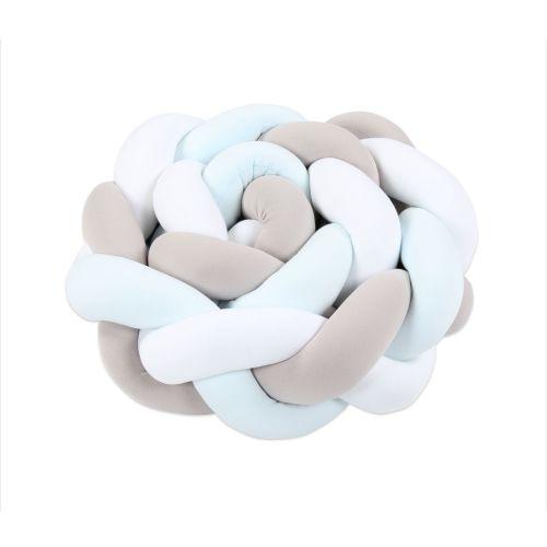 babybay Nestchenschlange geflochten passend für Kinderbetten, weiß/beige/aqua