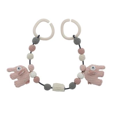 Sebra Kinderwagenkette, Elefanten Grapefruit Pink