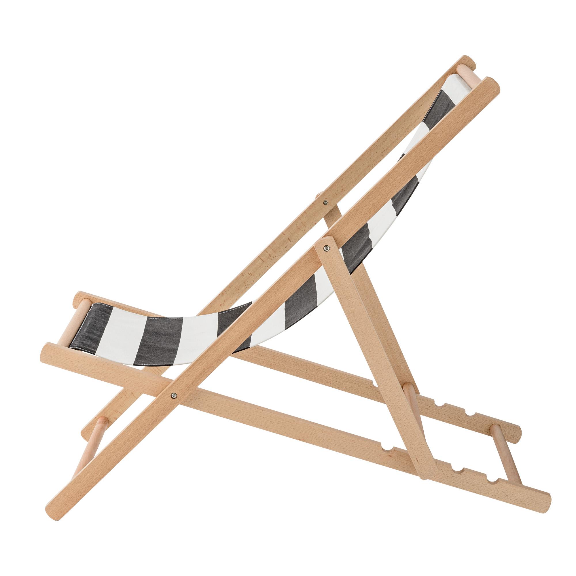 Bloomingville Deck Chair Gartenstuhl, Schwarz Weiss
