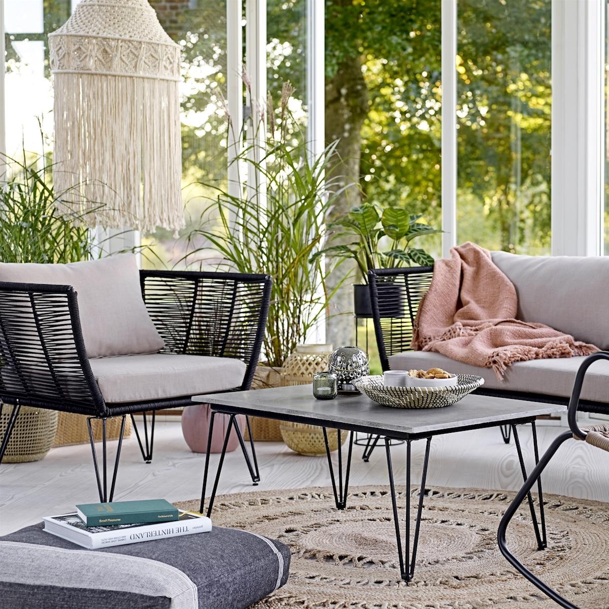 bloomingville lounge sofa outdoor metall schwarz. Black Bedroom Furniture Sets. Home Design Ideas