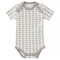 Fresk Babybody Bio-Baumwolle, kurzarm, Leaves Grey