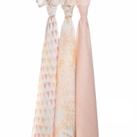 Aden Anais Silky Soft Swaddles, 3er-Pack - Metallic Primrose Birch