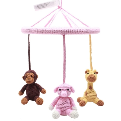 natureZoo of Denmark Mobile, Monkey-Giraffe-Pink Elephant