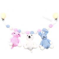 natureZoo of Denmark Kinderwagenkette, pink Elefant - Polar Bear - Rabbit