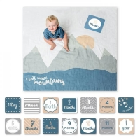 lulujo Babys First Year Swaddle-Blanket & Karten Set, I will move mountains