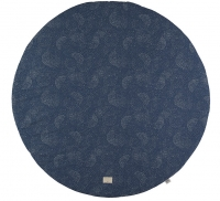 NOBODINOZ Baumwollteppich Full Moon, 105 cm - Gold Bubble/ Night Blue