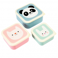 Rex London Set 3 Snack-Dosen, Panda, Cat & Rabbit