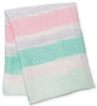 Lulujo Bambus Muslin Swaddle Mulltuch - Pink Spotted Lines