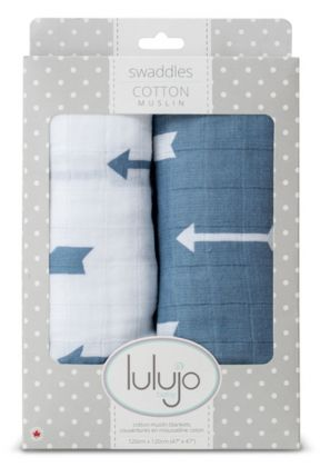 Lulujo Muslin Swaddle Mulltuch 2er Pack - Blue Arrows