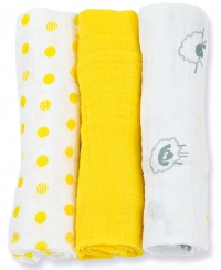 Lulujo Muslin Mulltuch 3er Pack - Sunshine Yellow
