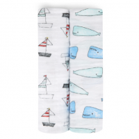 Aden Anais x Natchie Mulltuch Swaddles, 2er-Pack - Whales + Boats