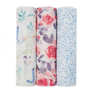 Aden Anais Silky Soft Swaddles, 3er-Pack - Watercolour Garden