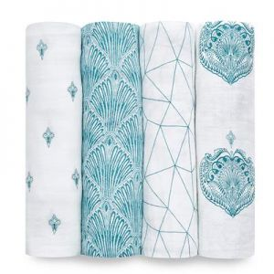 Aden Anais Mulltuch Swaddles, 4er-Pack - Paisley Teal
