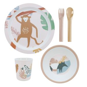 Sebra Geschirr-Set, Wildtiere, sunset pink