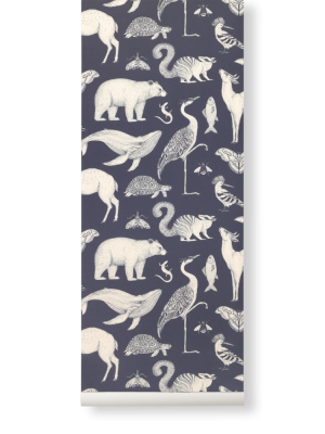 Ferm Living Tapeten - Animals Dark Blue
