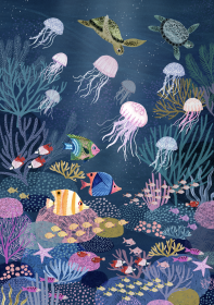 Petit Monkey Poster, Coral Reef
