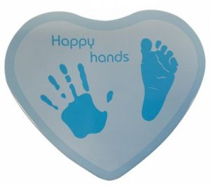 Hand & Fußabdruckset Happy Hands - Herzform, blau